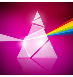 Prism spectrum on pink background vector