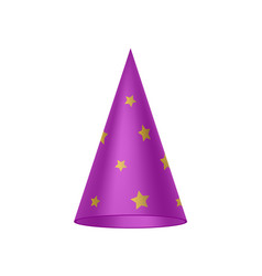 purple sorcerer hat with golden stars vector image vector image