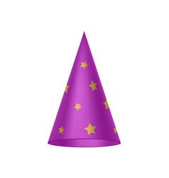 Purple sorcerer hat with golden stars vector