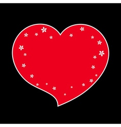 Red heart flower blossom icon black vector image vector image
