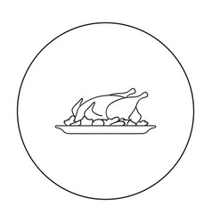 Roasted chicken with garnish icon in outline style vector