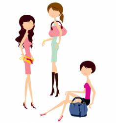 shopping girl with bag vector image vector image