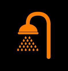 Shower sign orange icon on black background old vector