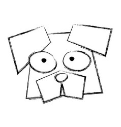 sketch draw funny dog face vector image vector image