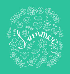 Summer lettering in floral pattern round frame vector