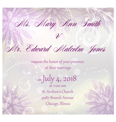 Wedding invitation with purple abstract flowers vector