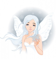 Winter fairy with snowflake vector