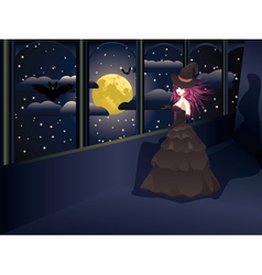 Witch on Balcony vector image