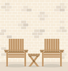 Wooden Garden Chairs With Table In Front Of Bricks vector image vector image