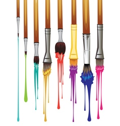Artist brushes with paint8 vector