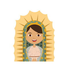 White background of half canvas of virgin of vector