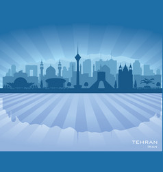 tehran iran city skyline silhouette vector image