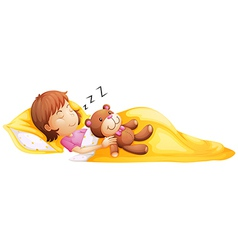 A young girl sleeping with her toy vector image