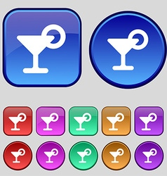 Drink cocktail with a lemon icon sign a set of vector