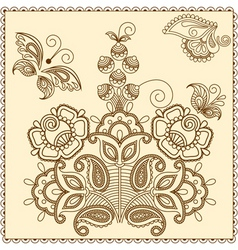 Mehndi abstract flowers vector