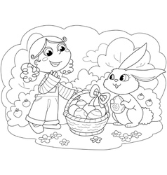 Girl with easter bunny vector