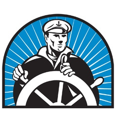 Ship captain helmsman sailor helm vector