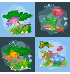 Underwater world background with fish vector