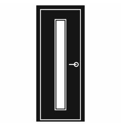 Black door with narrow glass icon vector