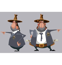 Cartoon man sheriff in a hat stands in front vector