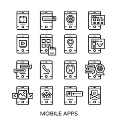 Mobile Application Line Icon Set vector image