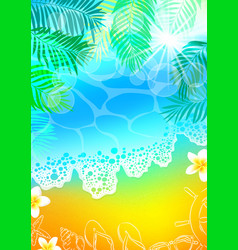 Background sea beach palms vector