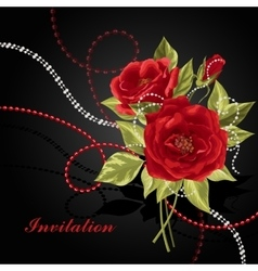 Beautiful bouquet of roses with beads vector