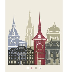 Bern skyline poster vector image vector image