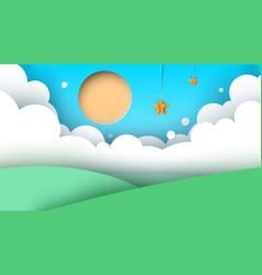 cartoon landscape road sun hill vector image