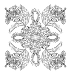 Coloring page with exotic flowers brunch vector