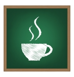 Cup of coffee sign white chalk effect on green vector