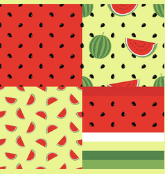 Cute seamless pattern collection with watermelons vector