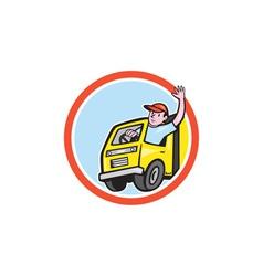 Delivery truck driver waving circle cartoon vector