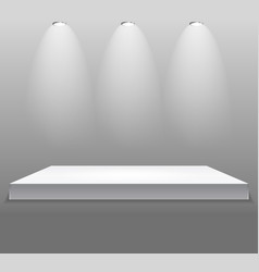 Exhibition concept white empty shelf stand wit vector