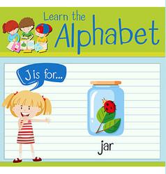 Flashcard letter j is for jar vector