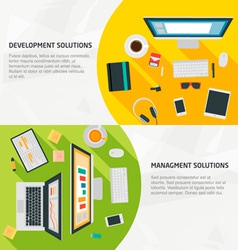 Flat design banners for business development vector