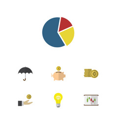 Flat icon finance set of parasol money box cash vector