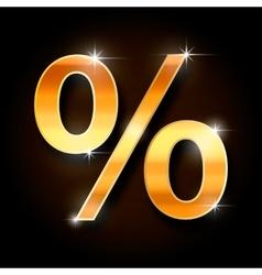 gold percent symbol vector image vector image