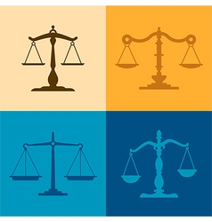 Justice scale silhouettes vector