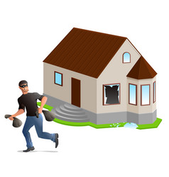 man thief robbed house home insurance vector image vector image