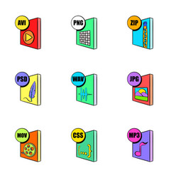Multimedia file icons set cartoon style vector