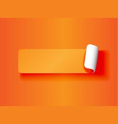 Peeling label orange on orange vector image vector image