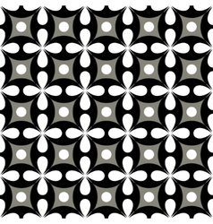 Polka dot and flower seamless pattern vector image