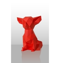 Red low-poly dog vector