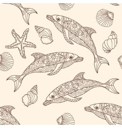seamless dolphin pattern with hand drawn vector image