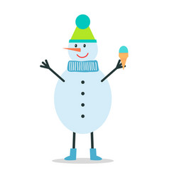 snowman in winter hat and scarf holds ice cream vector image