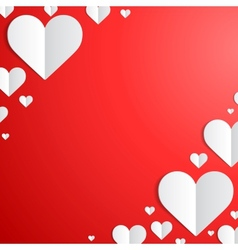 Valentines Day card with paper hearts in the vector image