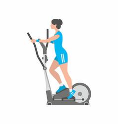 Woman running on elliptical machine vector