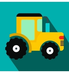 Yellow tractor flat icon vector