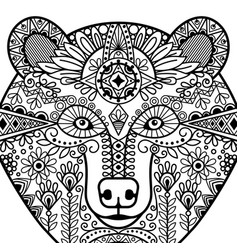 zentangle bear head vector image